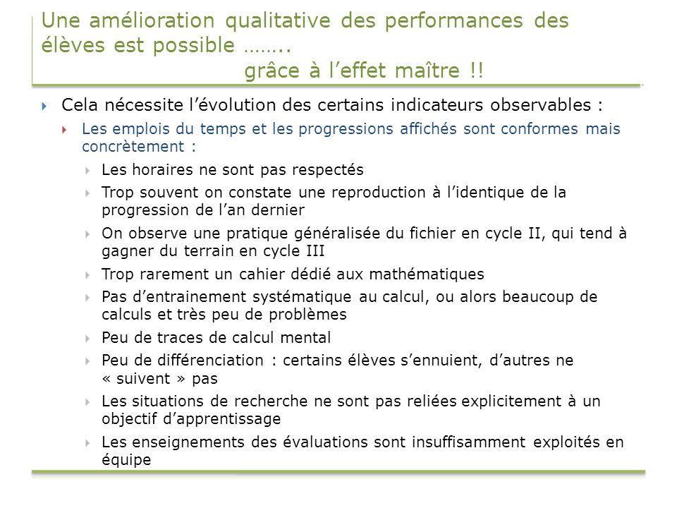 Une amélioration qualitative des performances des élèves est possible …….. grâce à leffet maître !! Cela nécessite lévolution des certains indicateurs