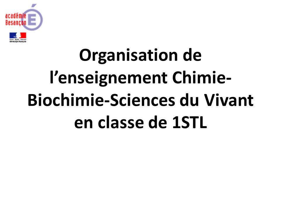 Organisation de lenseignement Chimie- Biochimie-Sciences du Vivant en classe de 1STL
