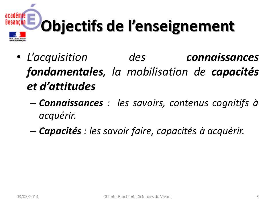 Objectifs de lenseignement Lacquisition des connaissances fondamentales, la mobilisation de capacités et dattitudes – Connaissances : les savoirs, contenus cognitifs à acquérir.
