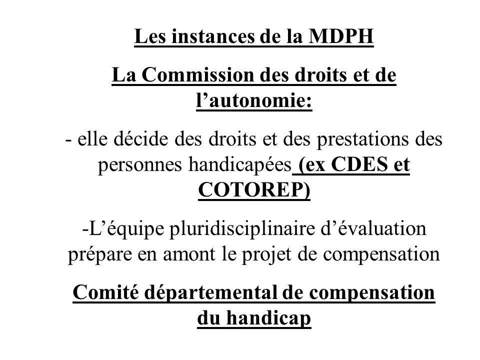 Les instances de la MDPH La Commission des droits et de lautonomie: - elle décide des droits et des prestations des personnes handicapées (ex CDES et