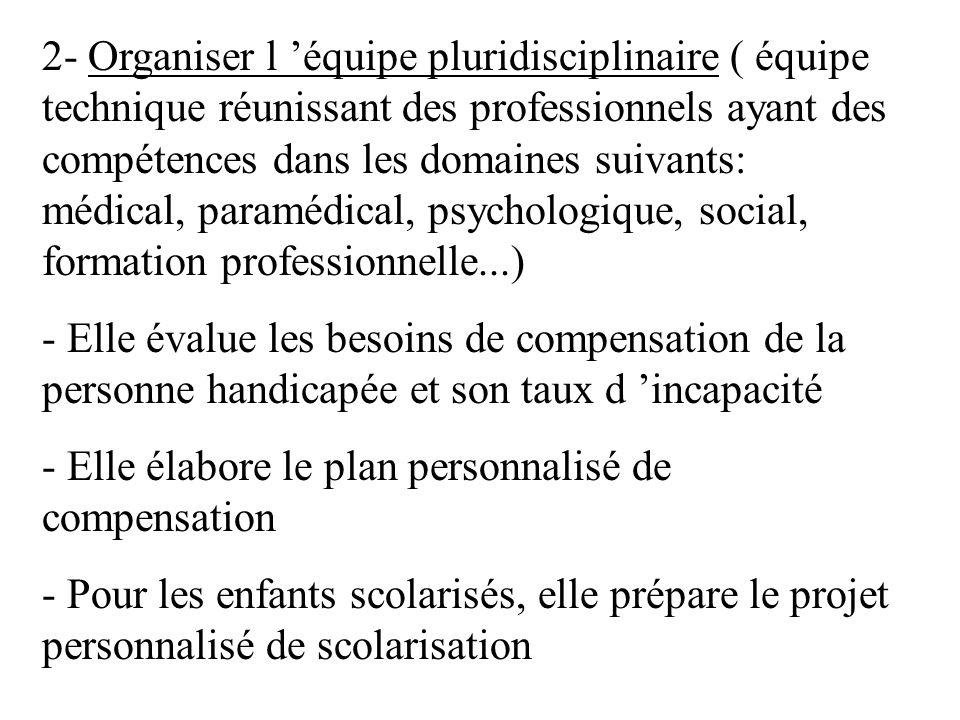 2- Organiser l équipe pluridisciplinaire ( équipe technique réunissant des professionnels ayant des compétences dans les domaines suivants: médical, p