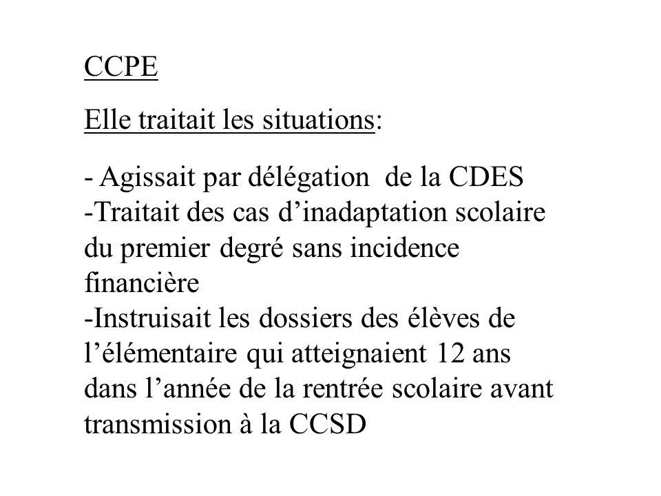 - Agissait par délégation de la CDES -Traitait des cas dinadaptation scolaire du premier degré sans incidence financière -Instruisait les dossiers des