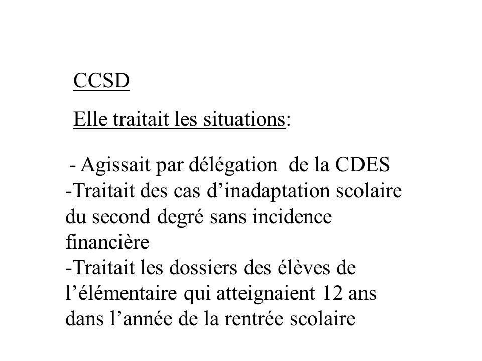 CCSD Elle traitait les situations: - Agissait par délégation de la CDES -Traitait des cas dinadaptation scolaire du second degré sans incidence financ
