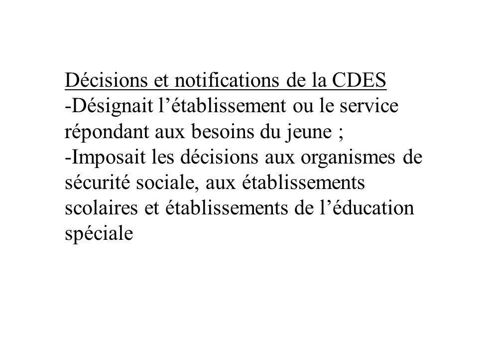 Décisions et notifications de la CDES -Désignait létablissement ou le service répondant aux besoins du jeune ; -Imposait les décisions aux organismes