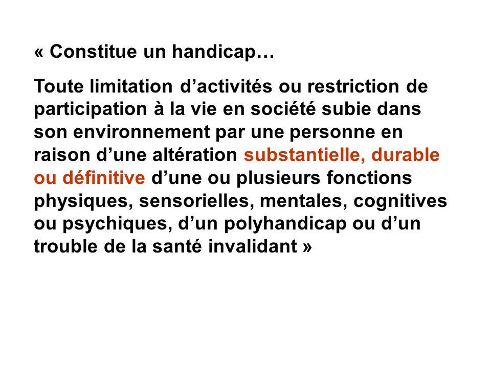« Constitue un handicap… Toute limitation dactivités ou restriction de participation à la vie en société subie dans son environnement par une personne