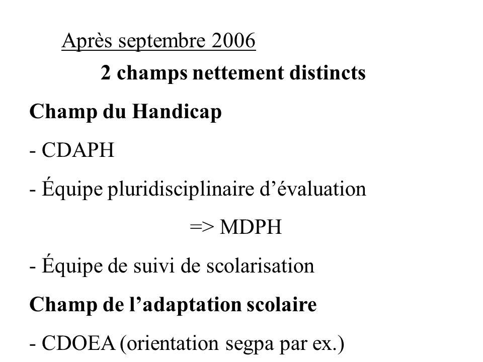 Après septembre 2006 2 champs nettement distincts Champ du Handicap - CDAPH - Équipe pluridisciplinaire dévaluation => MDPH - Équipe de suivi de scola