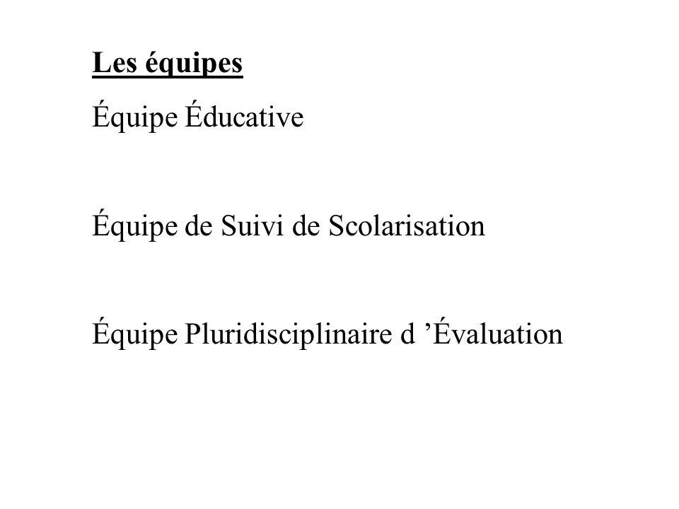 Les équipes Équipe Éducative Équipe de Suivi de Scolarisation Équipe Pluridisciplinaire d Évaluation