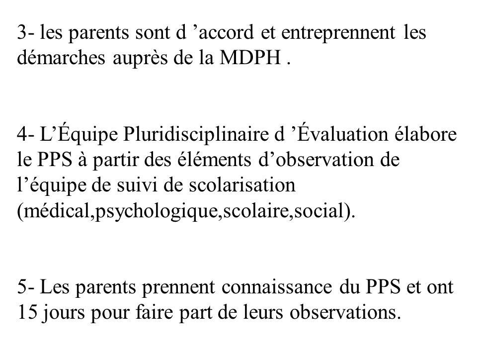 3- les parents sont d accord et entreprennent les démarches auprès de la MDPH. 4- LÉquipe Pluridisciplinaire d Évaluation élabore le PPS à partir des