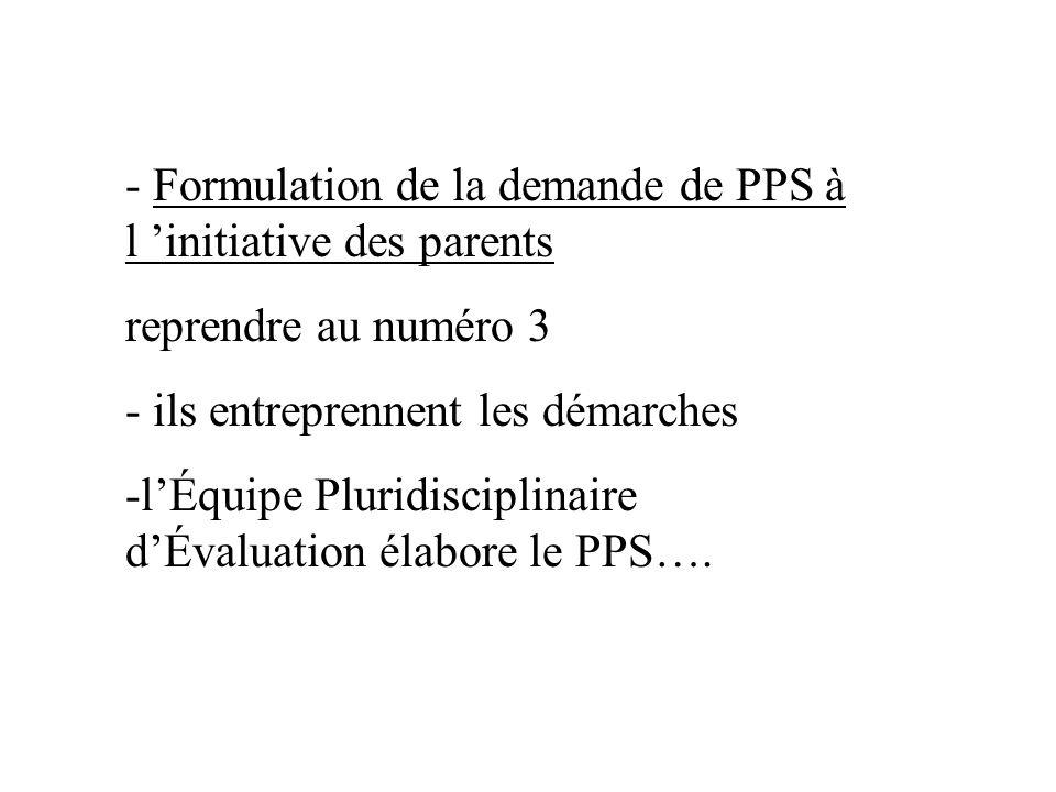 - Formulation de la demande de PPS à l initiative des parents reprendre au numéro 3 - ils entreprennent les démarches -lÉquipe Pluridisciplinaire dÉva
