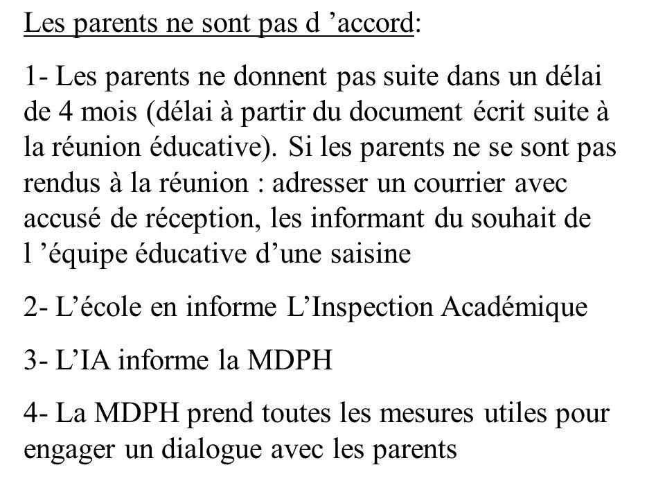 Les parents ne sont pas d accord: 1- Les parents ne donnent pas suite dans un délai de 4 mois (délai à partir du document écrit suite à la réunion édu