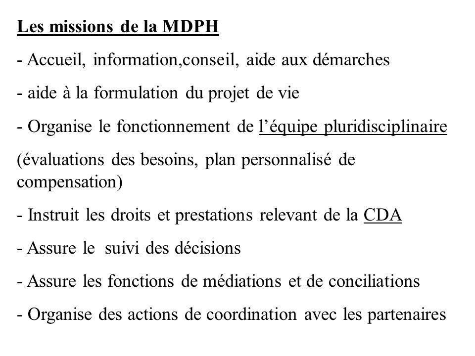 Les missions de la MDPH - Accueil, information,conseil, aide aux démarches - aide à la formulation du projet de vie - Organise le fonctionnement de lé