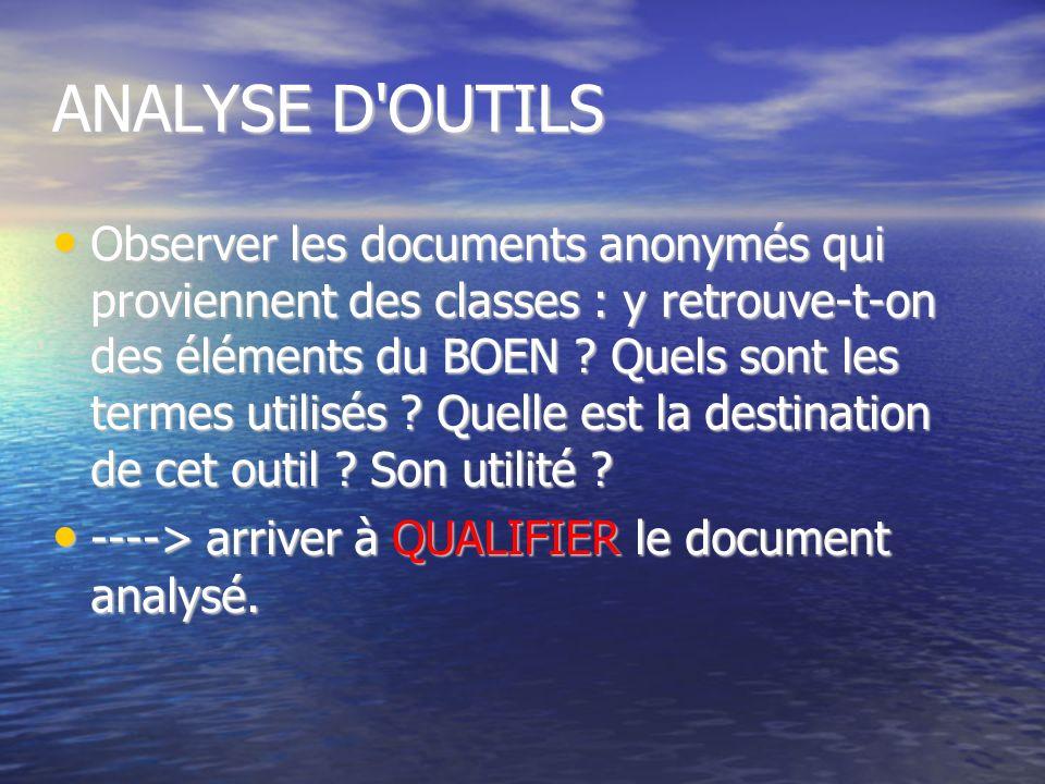 ANALYSE D'OUTILS Observer les documents anonymés qui proviennent des classes : y retrouve-t-on des éléments du BOEN ? Quels sont les termes utilisés ?