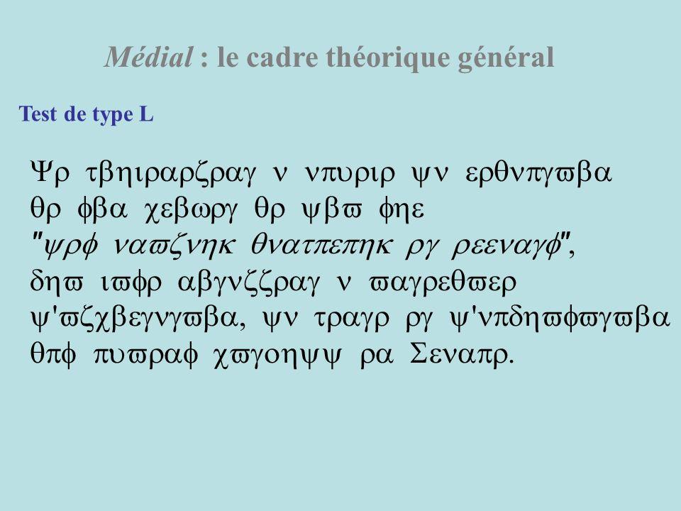 Médial : le cadre théorique général Test de type L