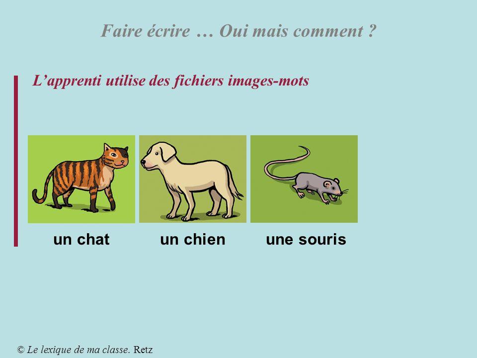 Faire écrire … Oui mais comment ? Lapprenti utilise des fichiers images-mots © Le lexique de ma classe. Retz un chatun chienune souris