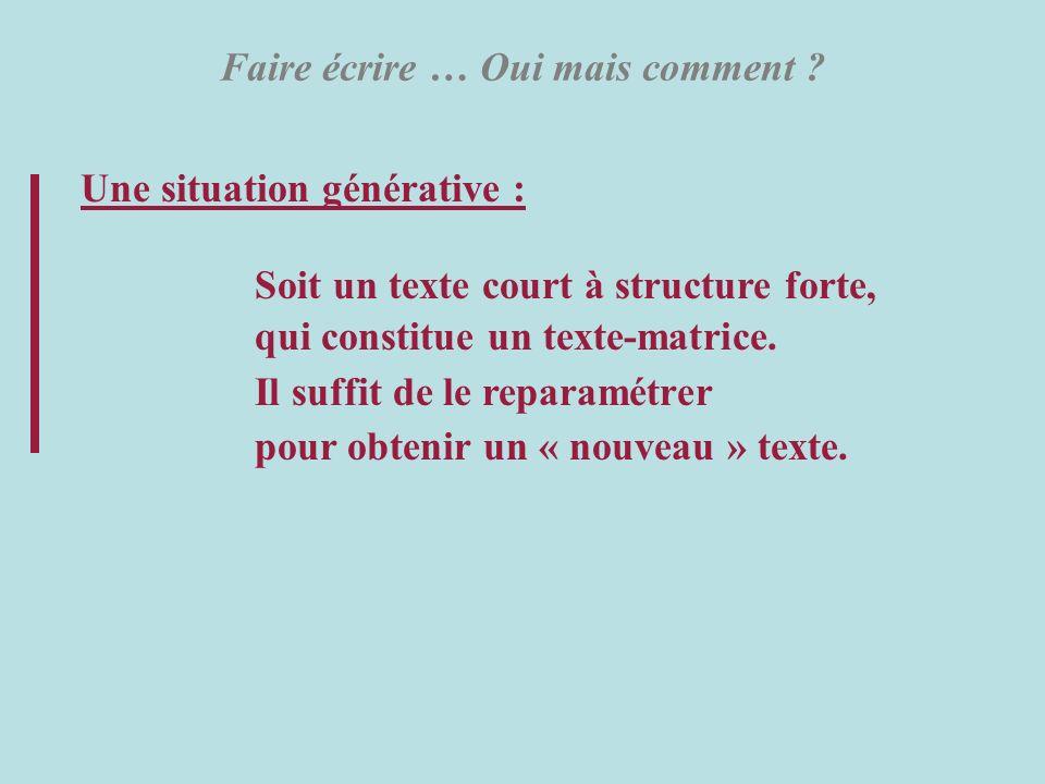 Faire écrire … Oui mais comment ? Une situation générative : Soit un texte court à structure forte, qui constitue un texte-matrice. Il suffit de le re