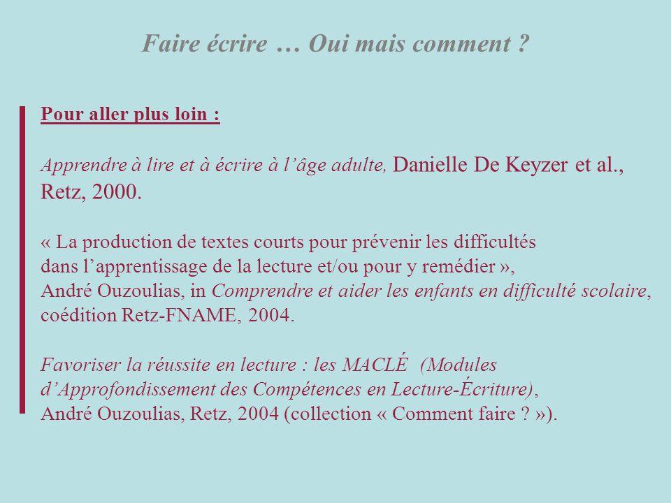 Faire écrire … Oui mais comment ? Pour aller plus loin : Apprendre à lire et à écrire à lâge adulte, Danielle De Keyzer et al., Retz, 2000. « La produ