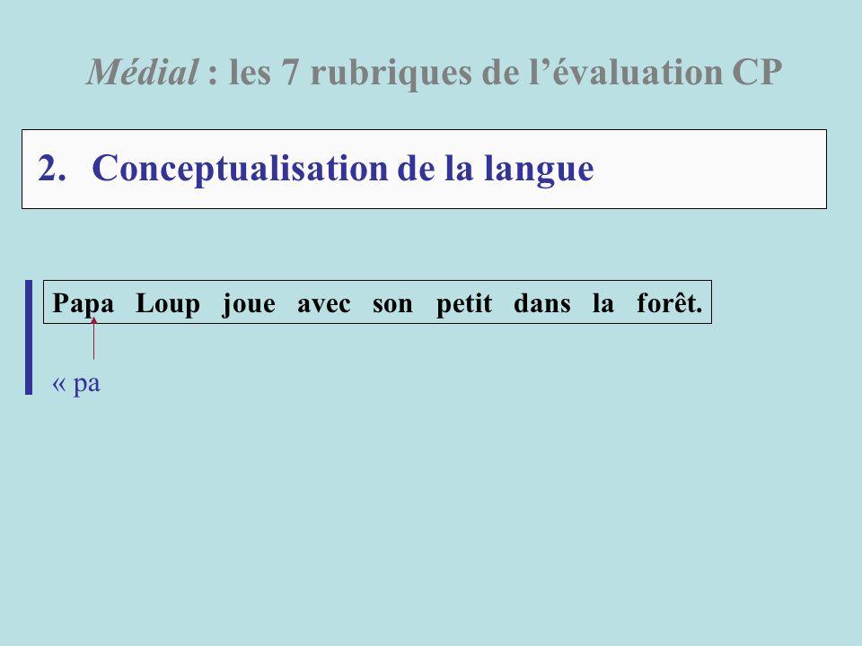 2. Conceptualisation de la langue Médial : les 7 rubriques de lévaluation CP Papa Loup joue avec son petit dans la forêt. « pa