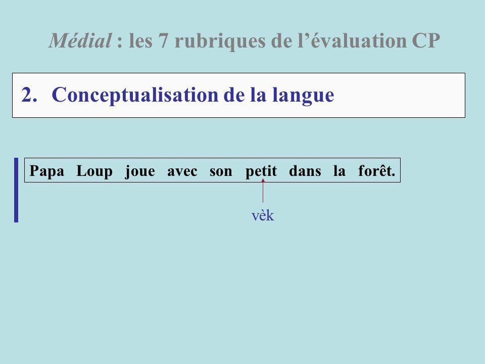 2. Conceptualisation de la langue Médial : les 7 rubriques de lévaluation CP Papa Loup joue avec son petit dans la forêt. vèk