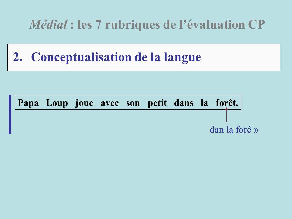 2. Conceptualisation de la langue Médial : les 7 rubriques de lévaluation CP Papa Loup joue avec son petit dans la forêt. dan la forê »