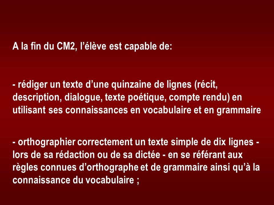 A la fin du CM2, lélève est capable de: - rédiger un texte dune quinzaine de lignes (récit, description, dialogue, texte poétique, compte rendu) en ut