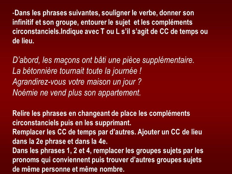 - Dans les phrases suivantes, souligner le verbe, donner son infinitif et son groupe, entourer le sujet et les compléments circonstanciels.Indique ave