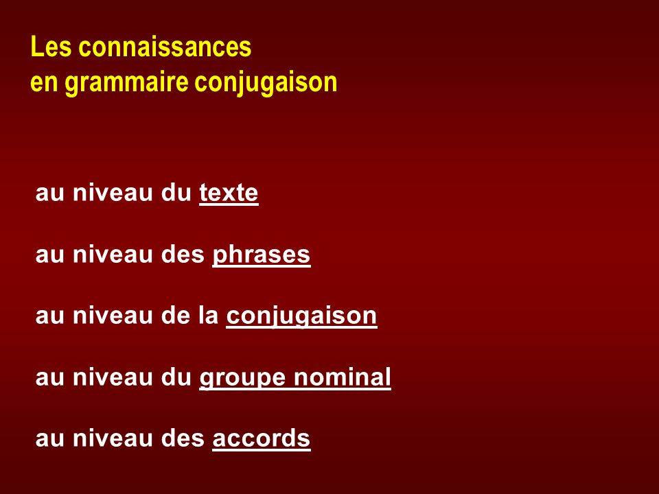 Les connaissances en grammaire conjugaison au niveau du textetexte au niveau des phrasesphrases au niveau de la conjugaisonconjugaison au niveau du gr
