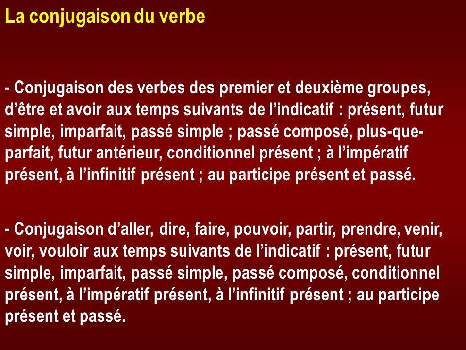 La conjugaison du verbe - Conjugaison des verbes des premier et deuxième groupes, dêtre et avoir aux temps suivants de lindicatif : présent, futur sim
