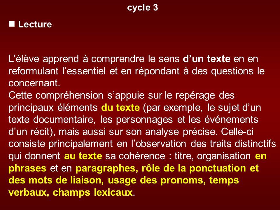 cycle 3 Lecture Lélève apprend à comprendre le sens dun texte en en reformulant lessentiel et en répondant à des questions le concernant. Cette compré