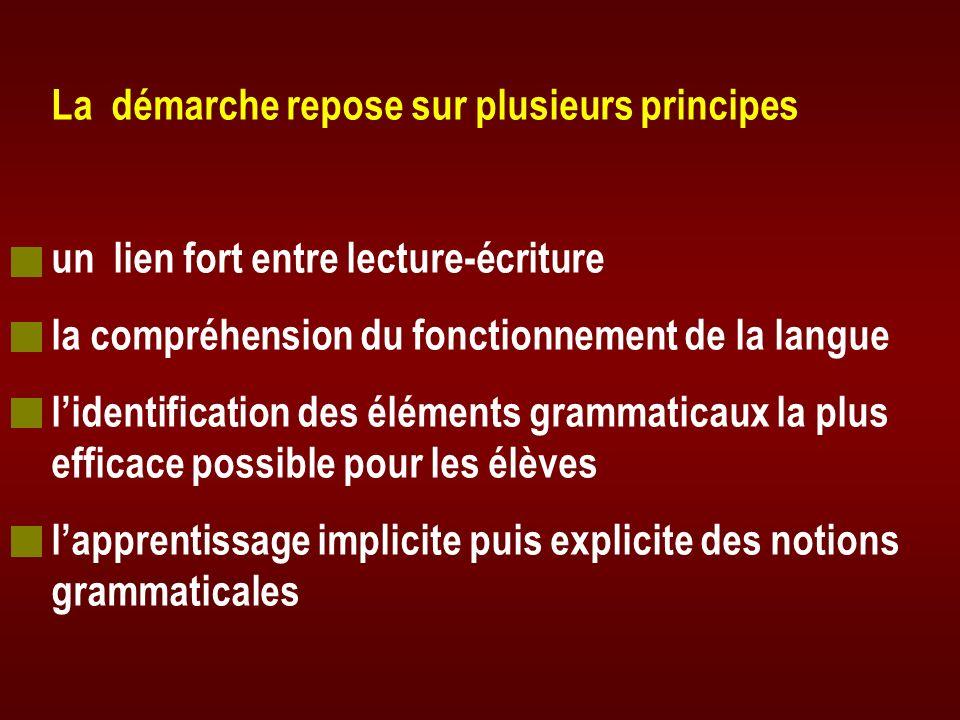 La démarche repose sur plusieurs principes un lien fort entre lecture-écriture la compréhension du fonctionnement de la langue lidentification des élé