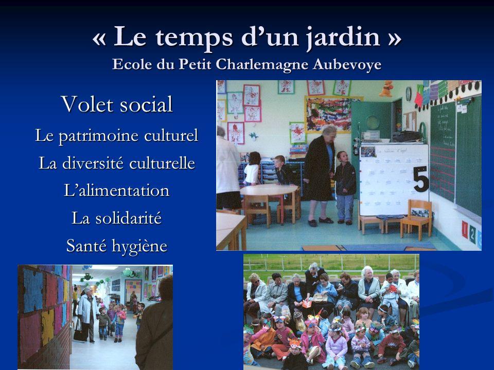 « Le temps dun jardin » Ecole du Petit Charlemagne Aubevoye Volet social Le patrimoine culturel La diversité culturelle Lalimentation La solidarité Sa