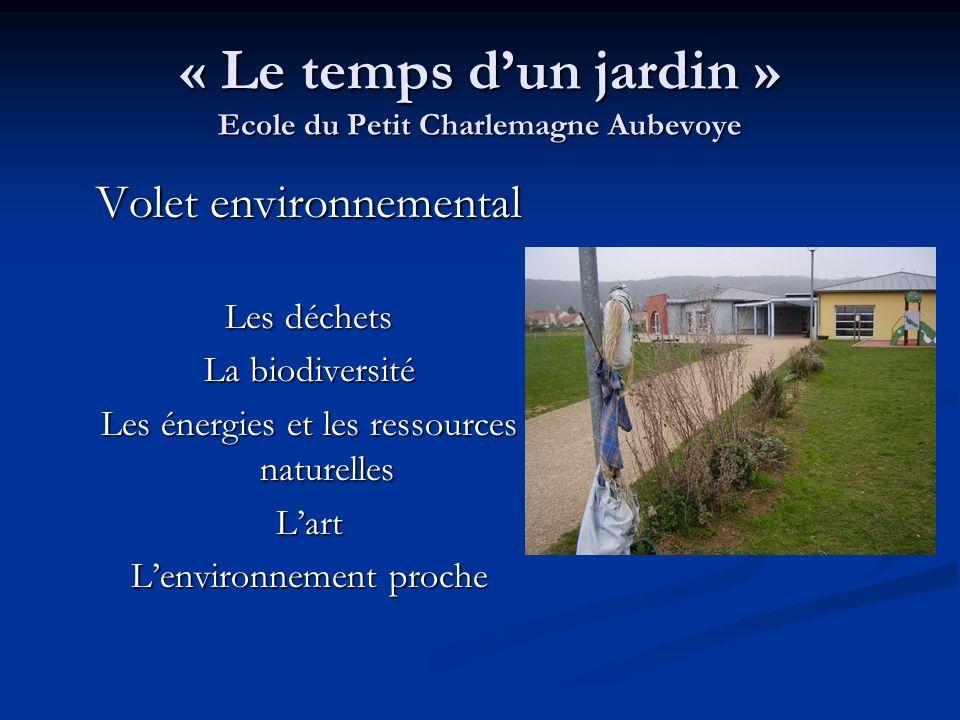 « Le temps dun jardin » Ecole du Petit Charlemagne Aubevoye Volet environnemental Les déchets La biodiversité Les énergies et les ressources naturelle