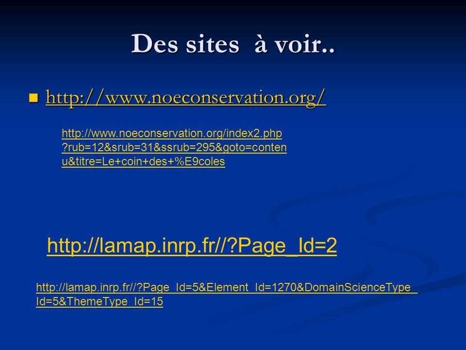 Des sites à voir.. http://www.noeconservation.org/ http://www.noeconservation.org/ http://www.noeconservation.org/ http://lamap.inrp.fr//?Page_Id=2 ht