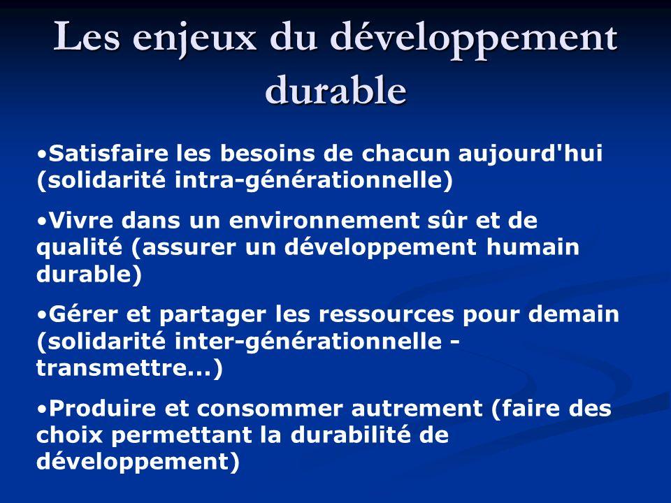Les enjeux du développement durable Satisfaire les besoins de chacun aujourd'hui (solidarité intra-générationnelle) Vivre dans un environnement sûr et