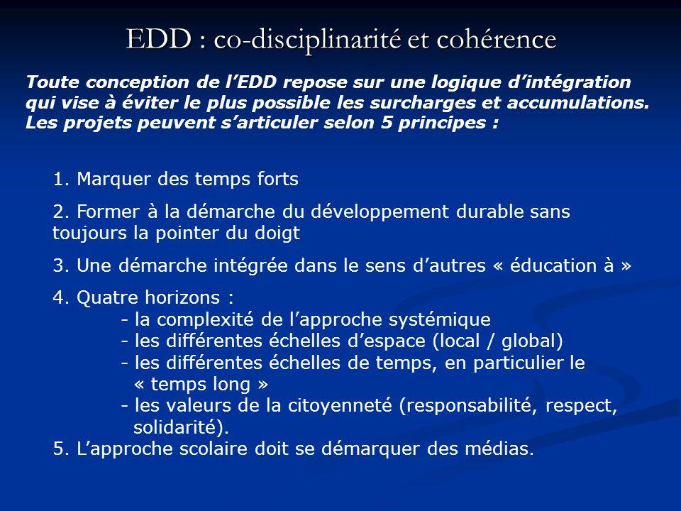 EDD : co-disciplinarité et cohérence Toute conception de lEDD repose sur une logique dintégration qui vise à éviter le plus possible les surcharges et
