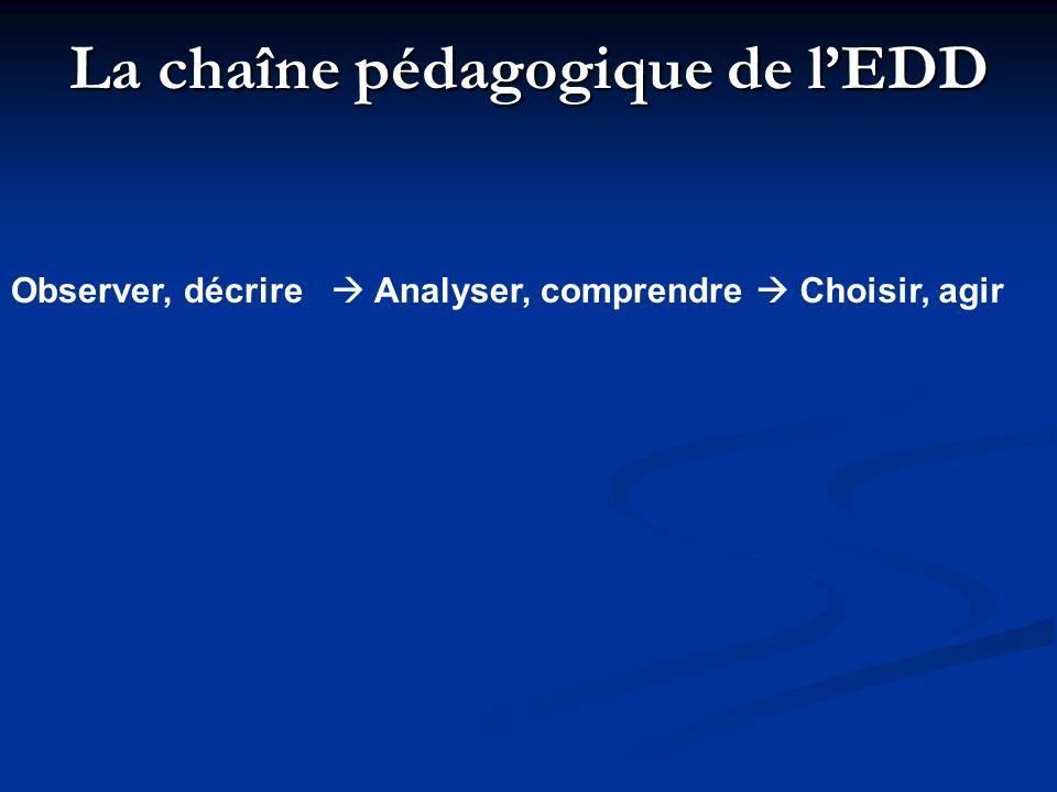 La chaîne pédagogique de lEDD Observer, décrire Analyser, comprendre Choisir, agir