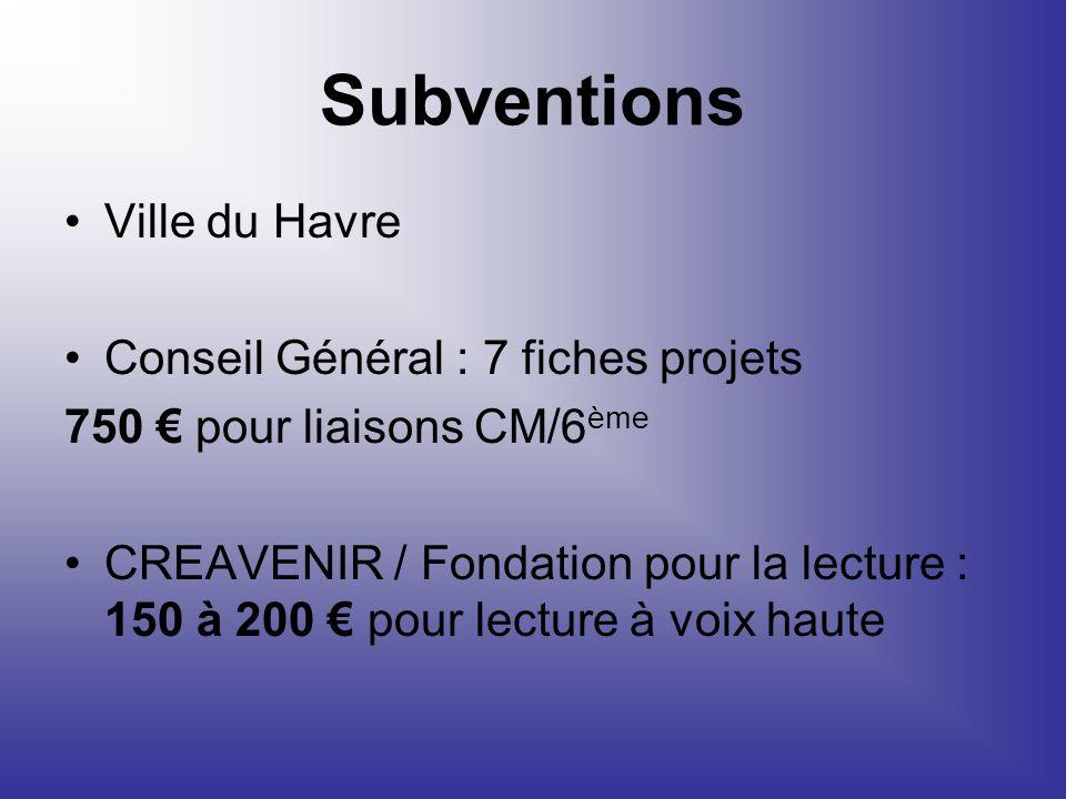 Subventions Ville du Havre Conseil Général : 7 fiches projets 750 pour liaisons CM/6 ème CREAVENIR / Fondation pour la lecture : 150 à 200 pour lectur