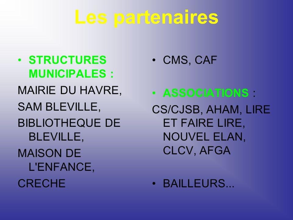 Les partenaires STRUCTURES MUNICIPALES : MAIRIE DU HAVRE, SAM BLEVILLE, BIBLIOTHEQUE DE BLEVILLE, MAISON DE L'ENFANCE, CRECHE CMS, CAF ASSOCIATIONS :