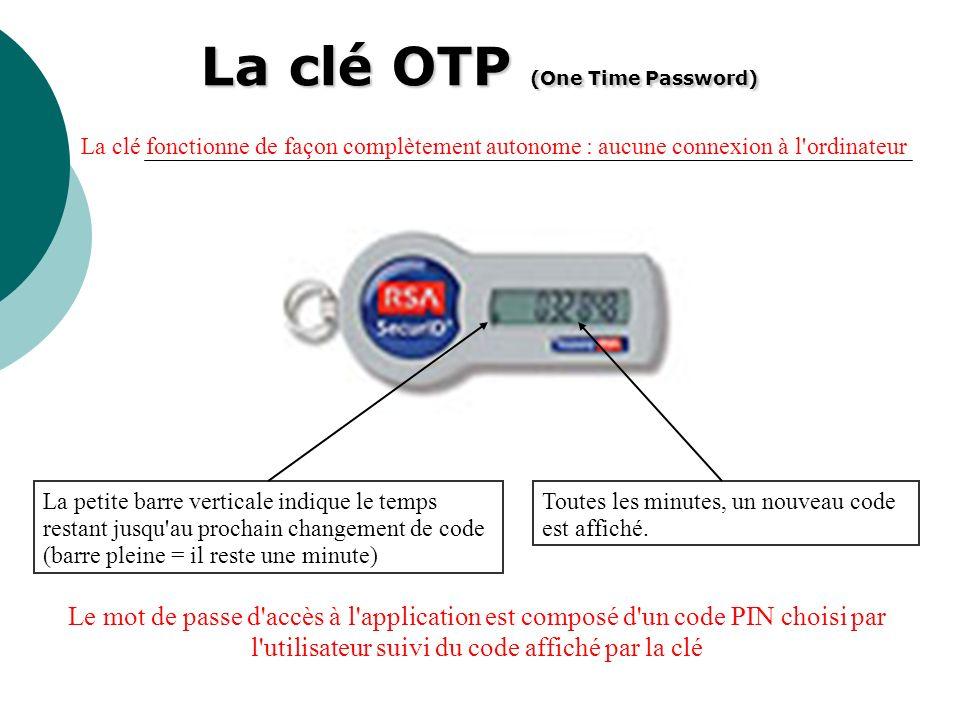 La clé OTP (One Time Password) Toutes les minutes, un nouveau code est affiché. La petite barre verticale indique le temps restant jusqu'au prochain c