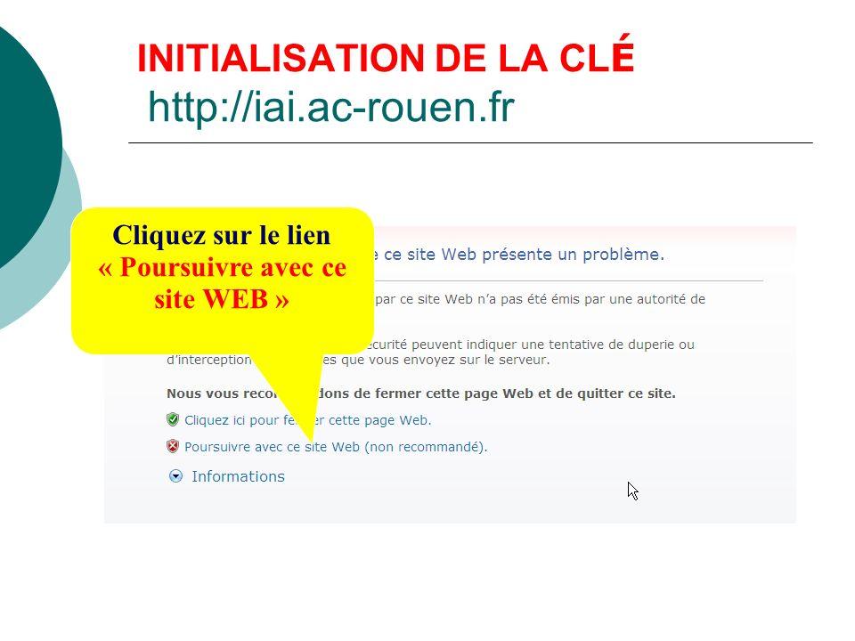 INITIALISATION DU CODE PIN Taper : Votre identifiant de messagerie (du type 1ère lettre du prénom suivi du nom) Taper les six numéros de la clé Cliquez sur Valider