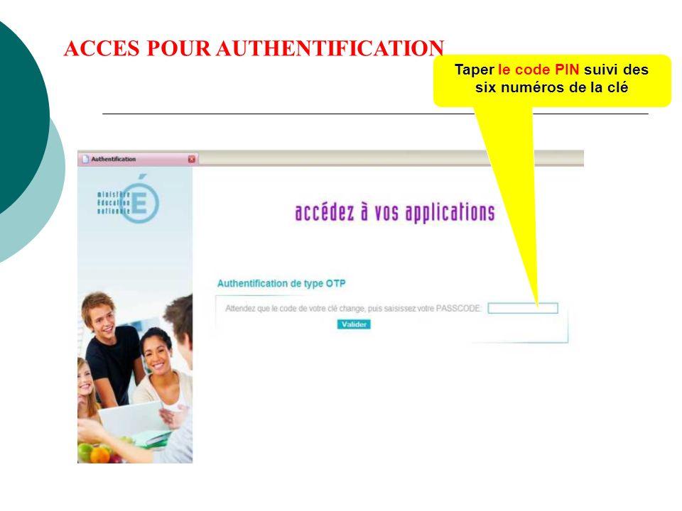 Taper le code PIN suivi des six numéros de la clé ACCES POUR AUTHENTIFICATION