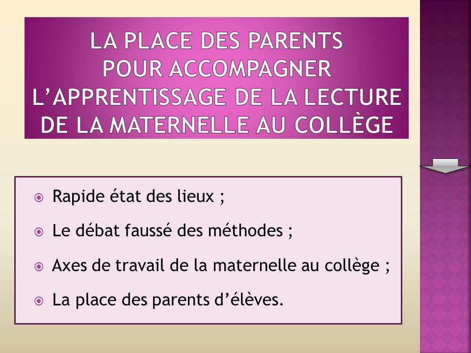 Rapide état des lieux ; Le débat faussé des méthodes ; Axes de travail de la maternelle au collège ; La place des parents délèves.