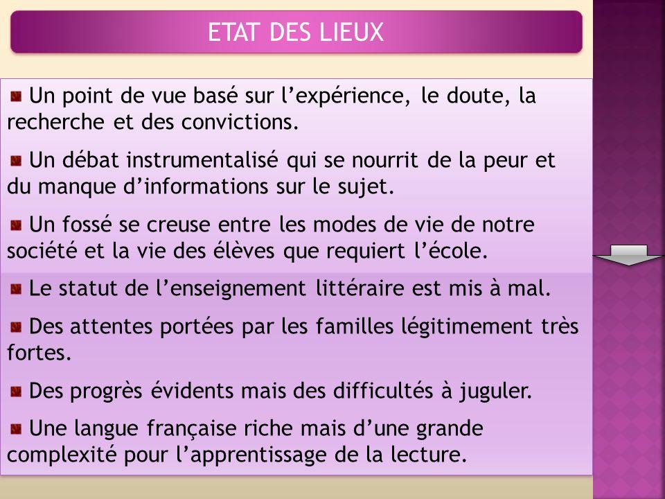 ETAT DES LIEUX Un point de vue basé sur lexpérience, le doute, la recherche et des convictions.