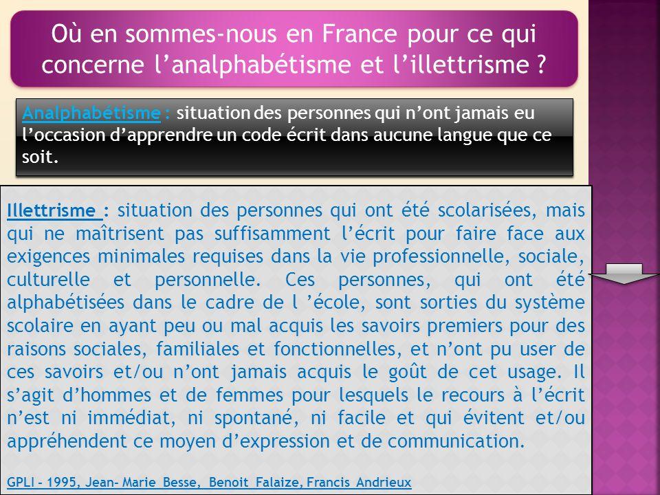 Où en sommes-nous en France pour ce qui concerne lanalphabétisme et lillettrisme .