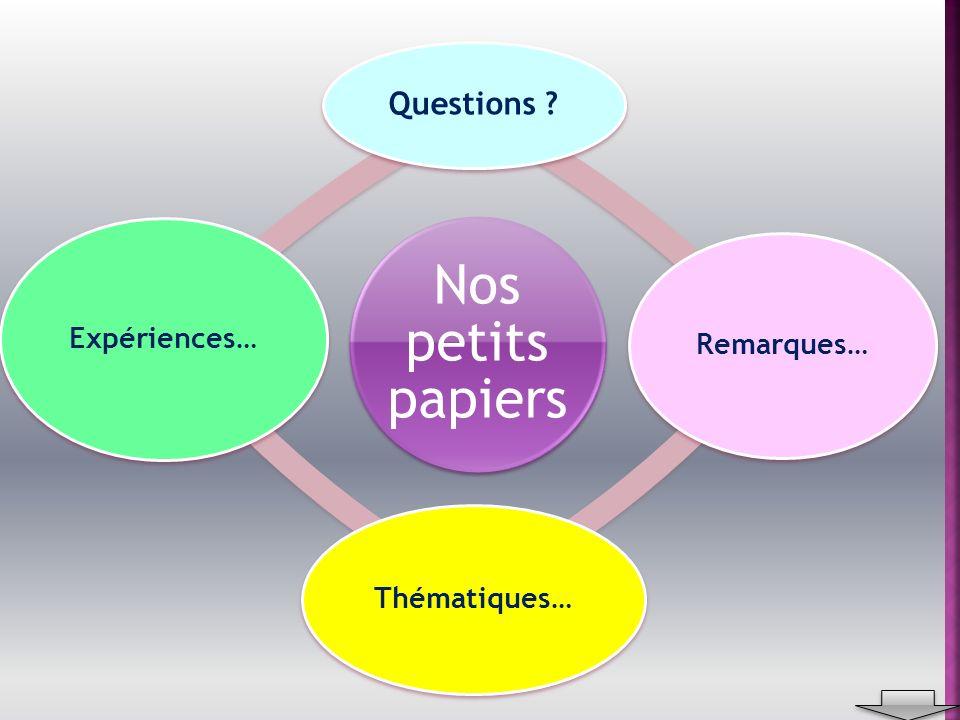 Nos petits papiers Questions Remarques… Thématiques… Expériences…