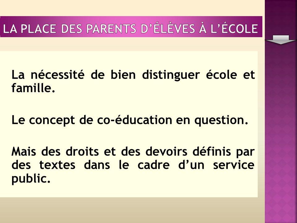 La nécessité de bien distinguer école et famille. Le concept de co-éducation en question.