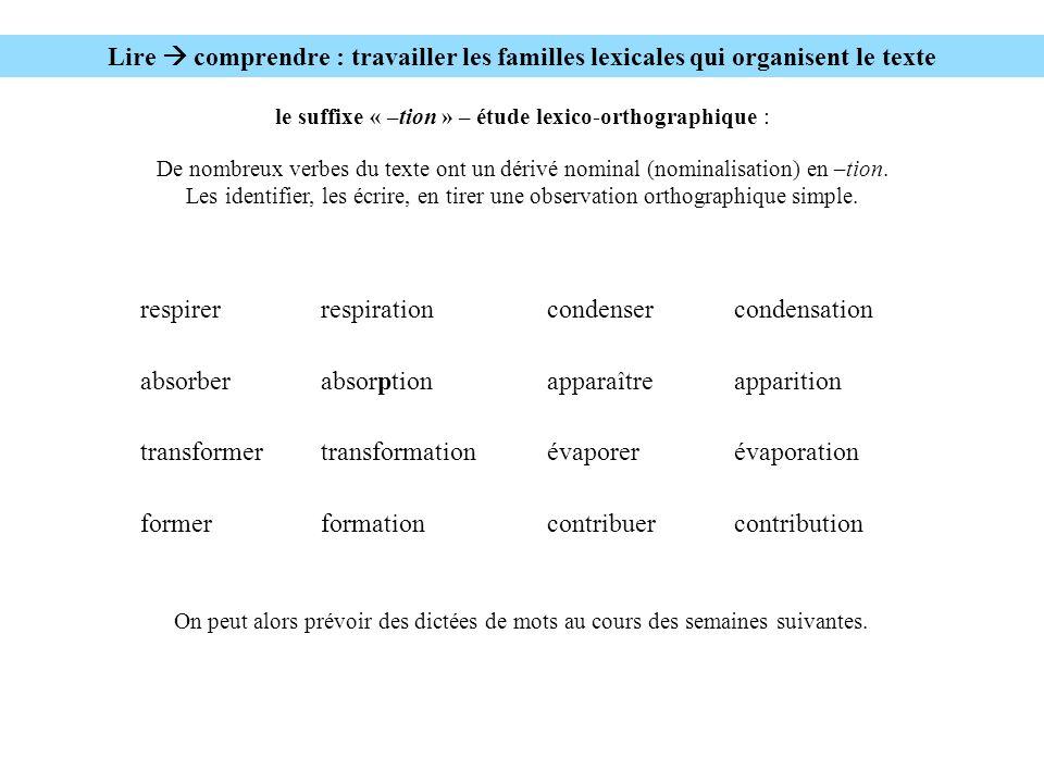 Lire comprendre : travailler les familles lexicales qui organisent le texte le suffixe « –tion » – étude lexico-orthographique : De nombreux verbes du texte ont un dérivé nominal (nominalisation) en –tion.