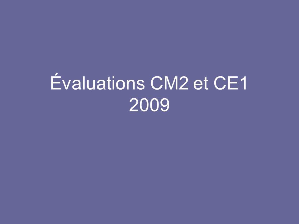 Évaluations CM2 et CE1 2009