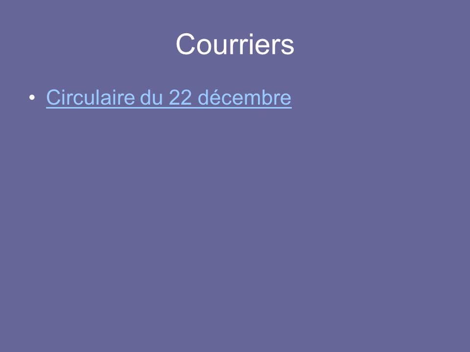 Courriers Circulaire du 22 décembre