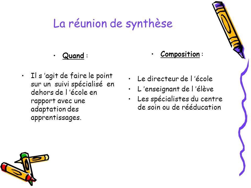 La réunion de synthèse Quand : Il s agit de faire le point sur un suivi spécialisé en dehors de l école en rapport avec une adaptation des apprentissa