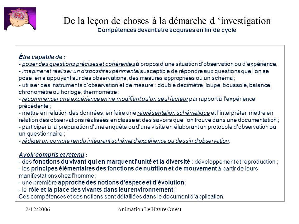 2/12/2006Animation Le Havre Ouest Être capable de : - poser des questions précises et cohérentes à propos d'une situation d'observation ou d'expérienc